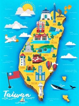 Taiwan reiskaart met chinese woorden die the redhouse op het rode gebouw schrijven