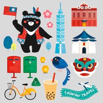 Taiwan symbolen collectie met chinese woorden the redhouse geschreven op het rode gebouw