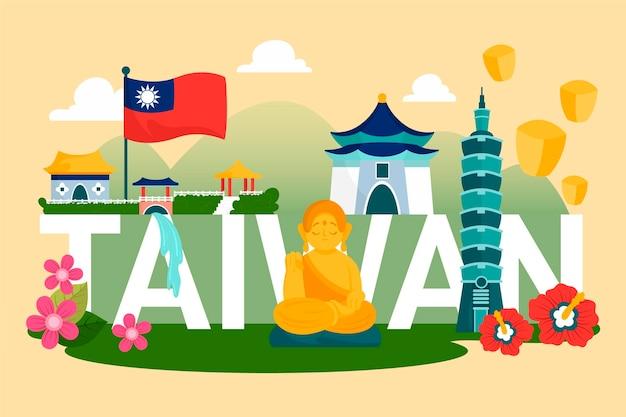 Taiwan woord met monumenten