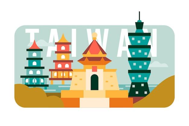 Taiwan woord met oriëntatiepunten thema
