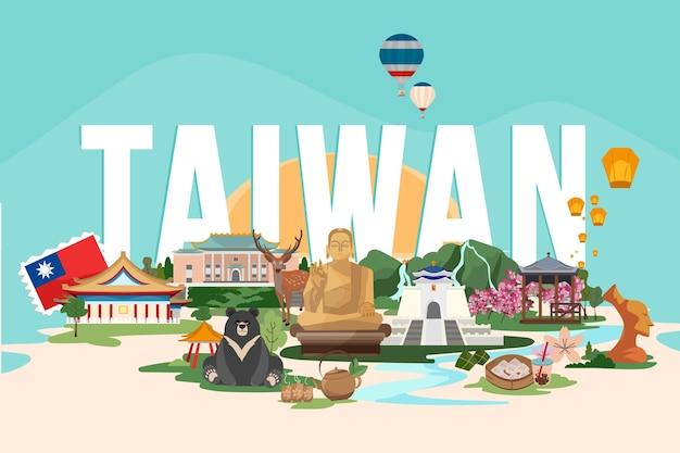 Taiwan woord met oriëntatiepunten