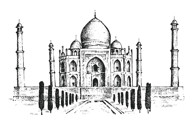 Taj mahal een oud paleis in india. oriëntatiepunt of architectuur, hindoetempel.