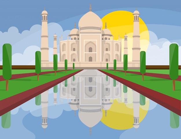 Taj mahal india ontwerp illustratie. concept kunst.