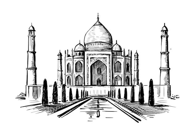 Taj mahal-mausoleum, india. hand getekend