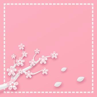 Tak en sakura bloem frame sjabloon in vector papier kunst concept.