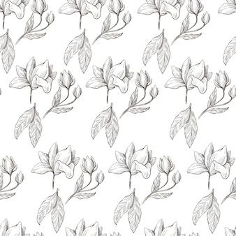 Tak met bladeren en bloeiend naadloos zwart-wit patroon