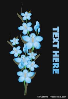 Tak met blauwe bloemen