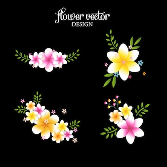 Tak van kleurrijke bloemen geïsoleerd