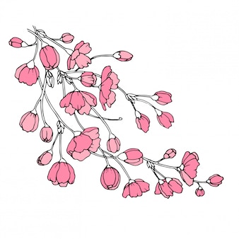 Tak vol met sakura bloemen