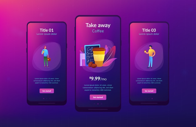 Take away koffie app interface sjabloon.