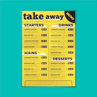 Take away restaurant menusjabloon