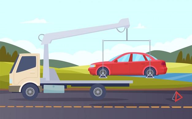 Takelwagen. beschadigde auto-evacuatie verkeersongeval crash gebroken vervoer vector cartoon achtergrond