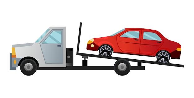 Takelwagen. coole platte vrachtwagen met kapotte auto. hulpauto voor reparatie van wegauto's met beschadigde of geborgen auto