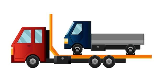 Takelwagen. coole platte vrachtwagen met kapotte auto. truck reparatie service assistentie voertuig met beschadigde of geborgen auto