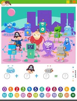 Taken tellen en toevoegen met stripfiguren