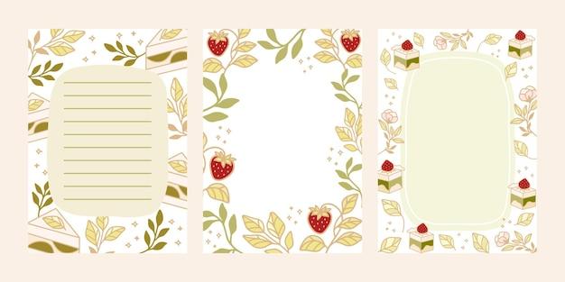 Takenlijst, dagelijkse planner, blocnote-sjablonen met handgetekende cake en aardbeienelementen