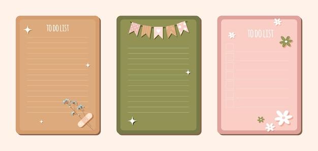 Takenlijst handgetekende vlakke stijl. blanco blad voor kinderen voor een notitieboekje met lijnen Premium Vector