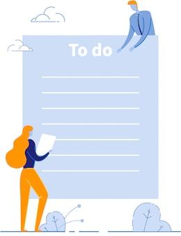 Takenlijst met collega's die een dagelijks schema plannen