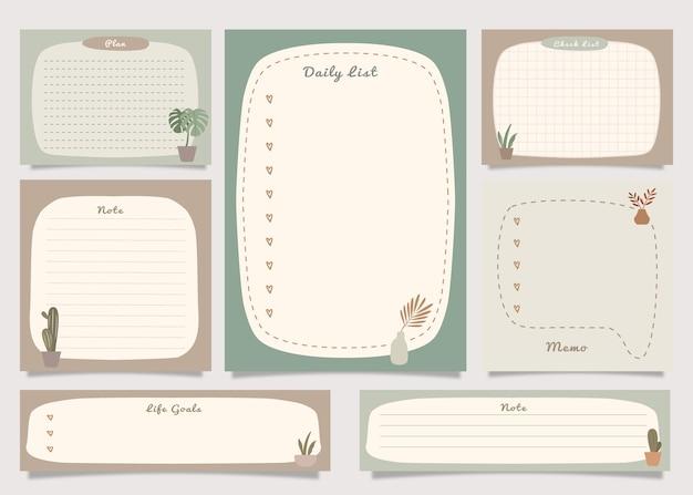 Takenlijst notitiepakket met boho plant illustratie