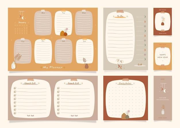 Takenlijst notitiepakket met boho-themaillustratie