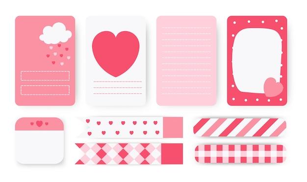Takenlijst, sticker en ducttape set. leuke planner notebookpagina. opmerking papier met abstract hart van hand getrokken wolken.