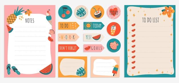 Takenlijstnotitie met kleurrijke zomerstickers en checklists voor notebookplannerandere briefpapier Premium Vector