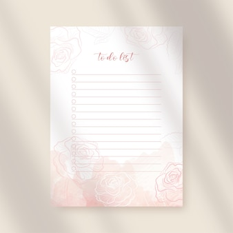 Takenlijstpapier met roze bloemen en plonswaterverf