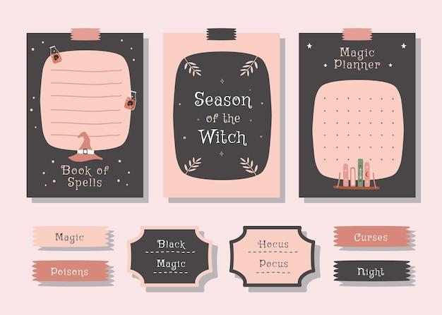 Takenlijstplanner set met schattige illustratie halloween-themaafbeelding voor journaling en sticker