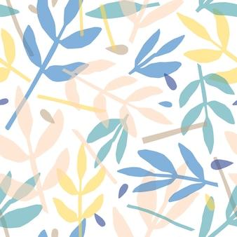 Takjes en bladeren hand getekende naadloze patroon.