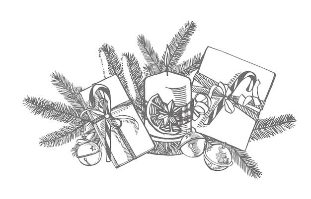 Takken van kerstbomen en kaars. nieuwjaar en kerstmis ontwerpelementen. . vintage illustratie.