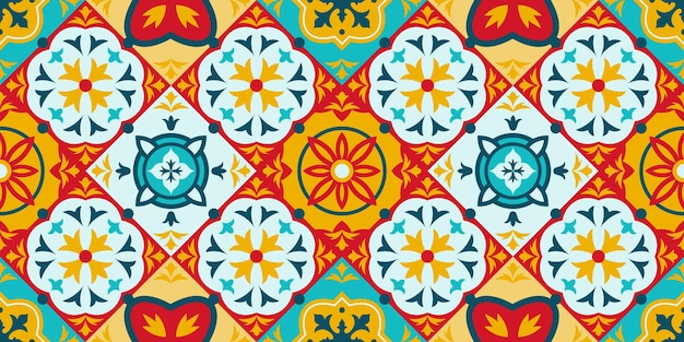 Talavera, azulejo mozaïek porselein keramische tegel naadloze patroon. decoratieve etnische ornament tegels patroon vector achtergrond illustratie. mediterrane mozaïektegels