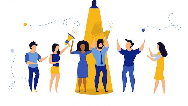 Talent zakenman concept illustratie. carrière medewerker persoon baan werknemer vinden.