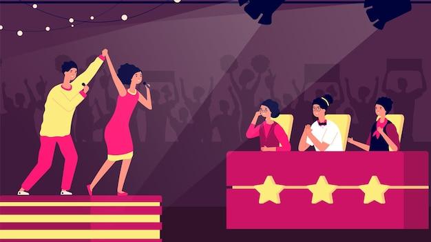 Talentenjacht. tv-podiumkunstenaar, muziekwedstrijd. televisie zangers competitie en jury. kerelmeisje op scène, vocale succes vectorillustratie. toon talentprestaties, muziek en muzikantentertainment
