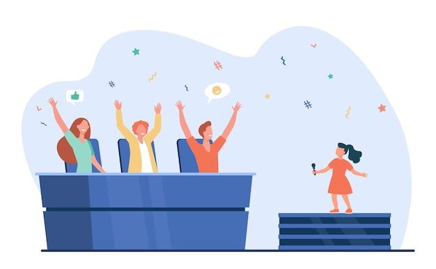 Talentenjacht voor kinderen. rechters die meisje zingen op het podium platte vectorillustratie goedkeuren. competitie, prestatie, jeugd