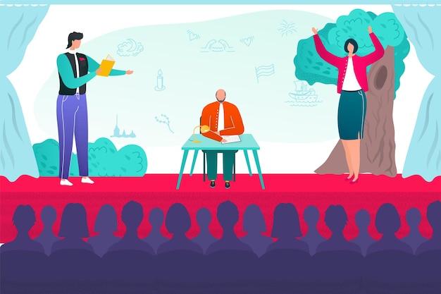 Talentprestaties op scène concept vector illustratie entertainment competitie met mensen man wo...