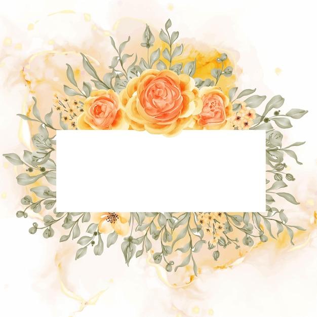 Talitha rose geel oranje bloem frame achtergrond met witruimte