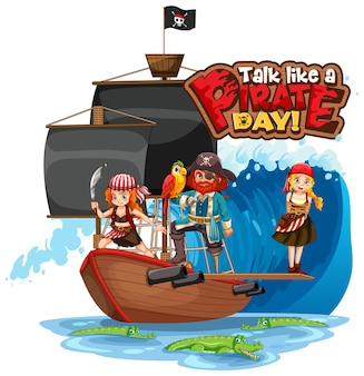 Talk like a pirate day lettertype banner met pirate stripfiguur