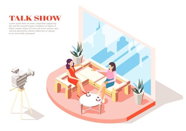 Talkshow gastvrouw en gast in studio isometrische illustratie
