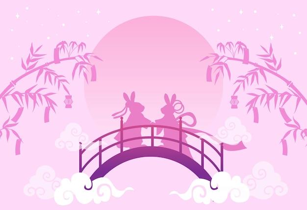 Tanabata-festival of qixi-festival. vectorillustratie van schattige konijnen die de jaarlijkse bijeenkomst van de herder en de wever symboliseren.