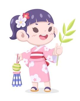 Tanabata festival, schattig stijl japans meisje in traditionele kimono jurk cartoon afbeelding