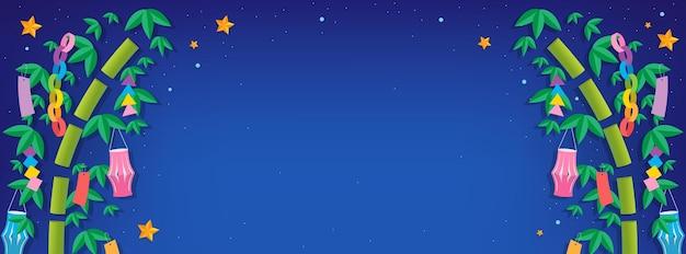 Tanabata of star festival achtergrond met bamboe boom op nachtelijke hemel