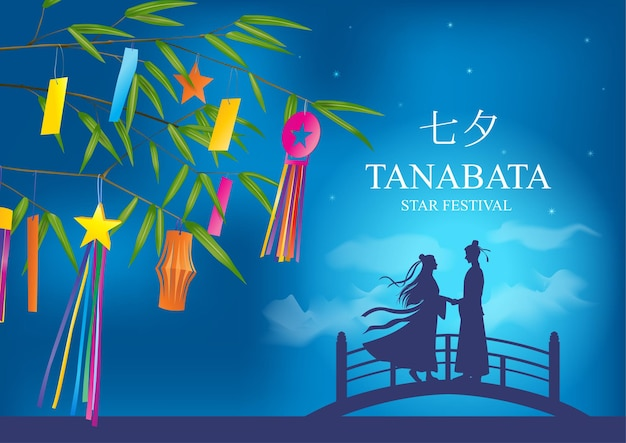 Tanabata of star festival achtergrond the meeting of the starlovers japanese translate avond van de zevende