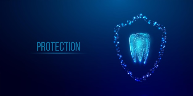Tand. abstracte draadframe laag poly stijl banner. tandheelkundige diensten, tandenbehandeling, tandheelkundige zorg, stomatologieconcept. donkerblauwe achtergrond. vector illustratie.
