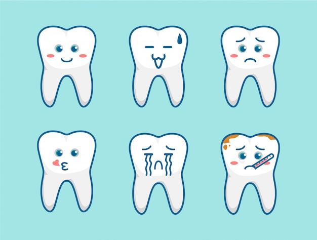 Tand cartoon emoji leuk schattig karakter mascotte met verschillende gezichtsuitdrukkingen ingesteld voor kinderen tandarts illustratie