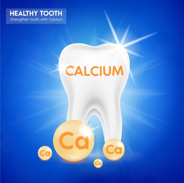 Tand- en calciummineraal goud. glanzende druppelpilcapsule mineraal- en vitaminecomplex.