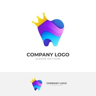 Tand- en kroonlogo-ontwerp met 3d-kleurrijke stijl