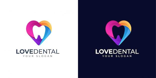 Tand en liefde tandheelkundige logo-ontwerpinspiratie