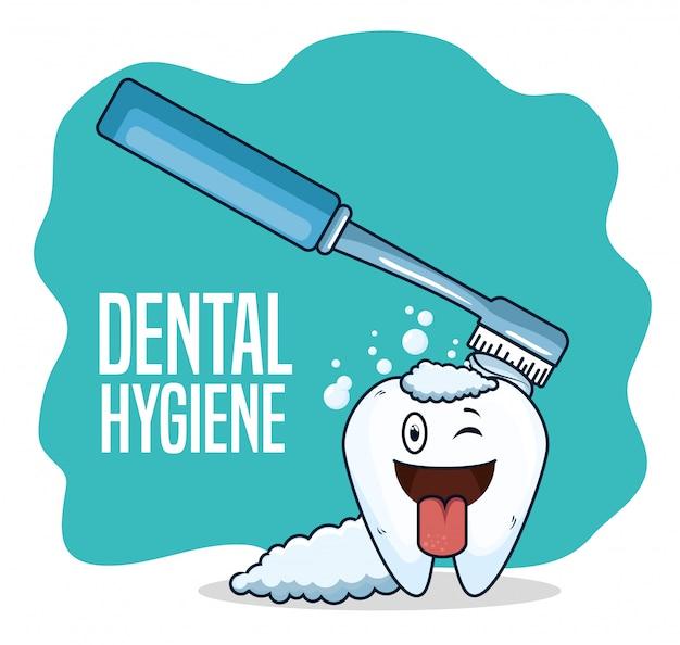 Tand gezondheidszorg behandeling met tandenborstel tool