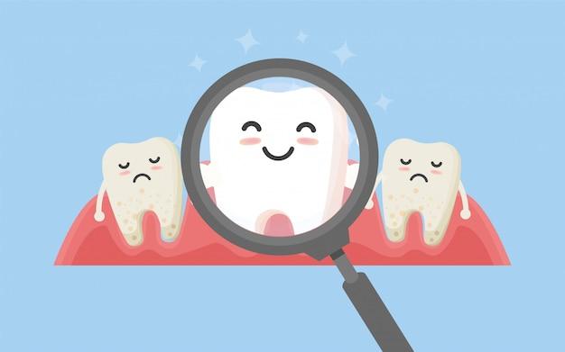 Tand met vergrootglas. tandheelkunde maakt witte tand en tandheelkundige instrumenten schoon
