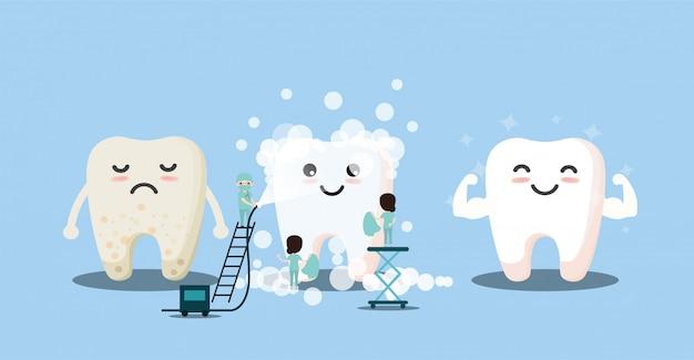 Tand met vergrootglas. tandheelkunde reinigt witte tanden en tandheelkundige instrumenten. mondhygiëne; tanden poetsen.vector; illustratie; eps; plat ontwerp